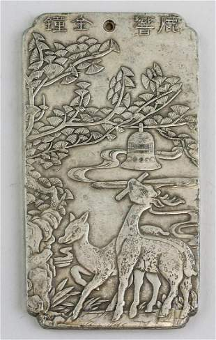 Chinese Silver Deer Pendant with Zuyin Mark