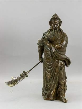 Chinese Bronze Guan Gong Statue with Qianlong Mark