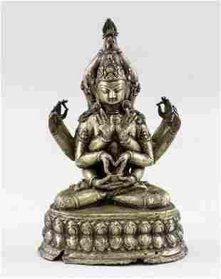 Indian Bronze Twelve-Arm Guanyin Statue