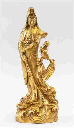 Chinese Bronze Guanyin with Boy Statue