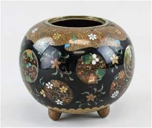 Japanese Bronze Black Cloisonne Jar