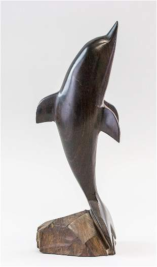 Chinese Zitan Carved Dolphin