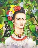 Frida Kahlo Mexican Modernist Oil on Canvas COA