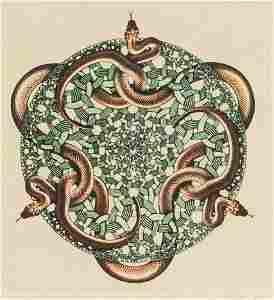 M. C. Escher Dutch Signed Linocut 164/250