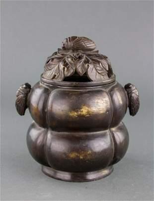 Chinese Bronze Cicada Censer with Zhen Wan Mark