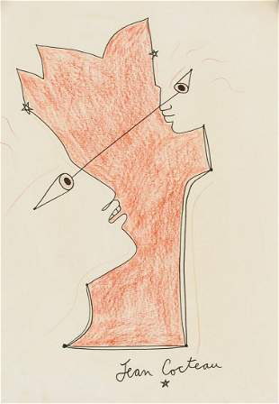 Jean Cocteau French Cubist Mixed Media on Paper