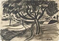 August Macke German Expressionist Charcoal Study