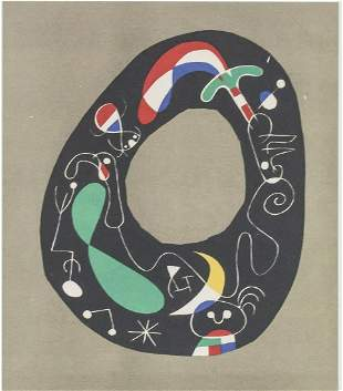 "Joan Miro Spanish Signed Litho on Paper ""E.A."""