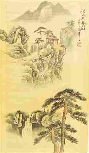 Chinese Watercolor Landscape Artist Stamped