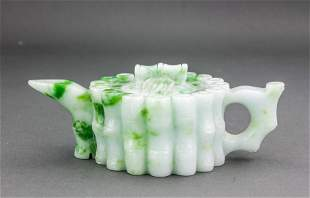 Chinese Green Hardstone Carved Bamboo Teapot