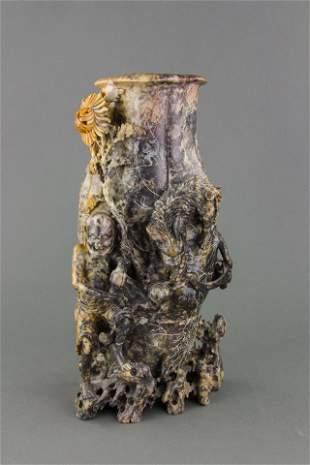 Chinese Large Shoushan Stone Carved Vase