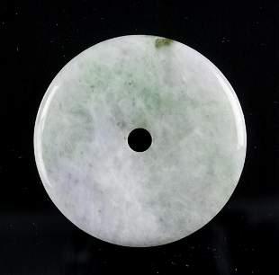 Emerald Green Jadeite Carved Bi Disc Pendant