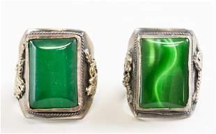 Chinese Green Stone Ring Pair