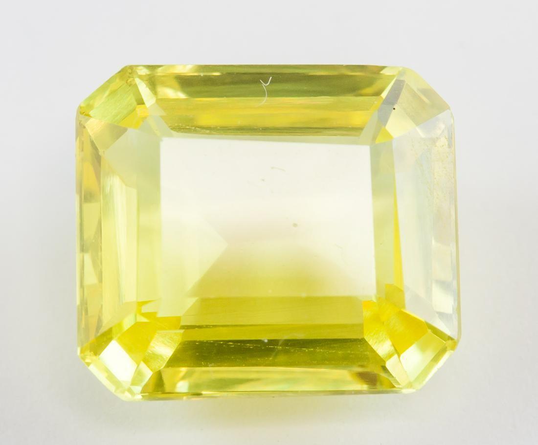 10.30ct Emerald Cut Yellow Natural Sapphire GGL