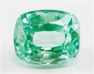 9.10ct Cushion Cut Green Natural Sapphire GGL