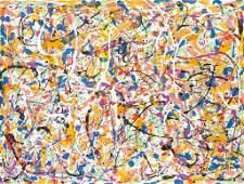 American Oil on Canvas Signed Jackson Pollock