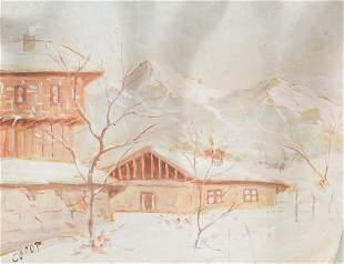 Jean-Baptiste Camille Corot French Gouache Paper