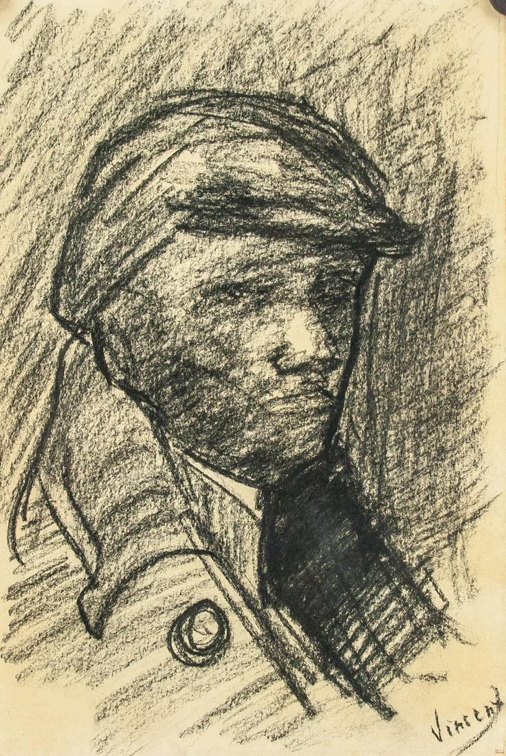 Dutch Charcoal on Paper Signed Vincent