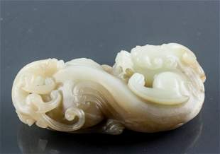 19th C. Chinese Hetian White Jade Dragon Toggle