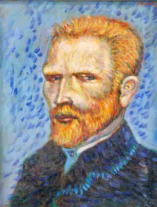 Signed Vincent Oil on Canvas Self Portrait