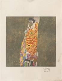 Gustav Klimt Austrian Modernist Signed Linocut