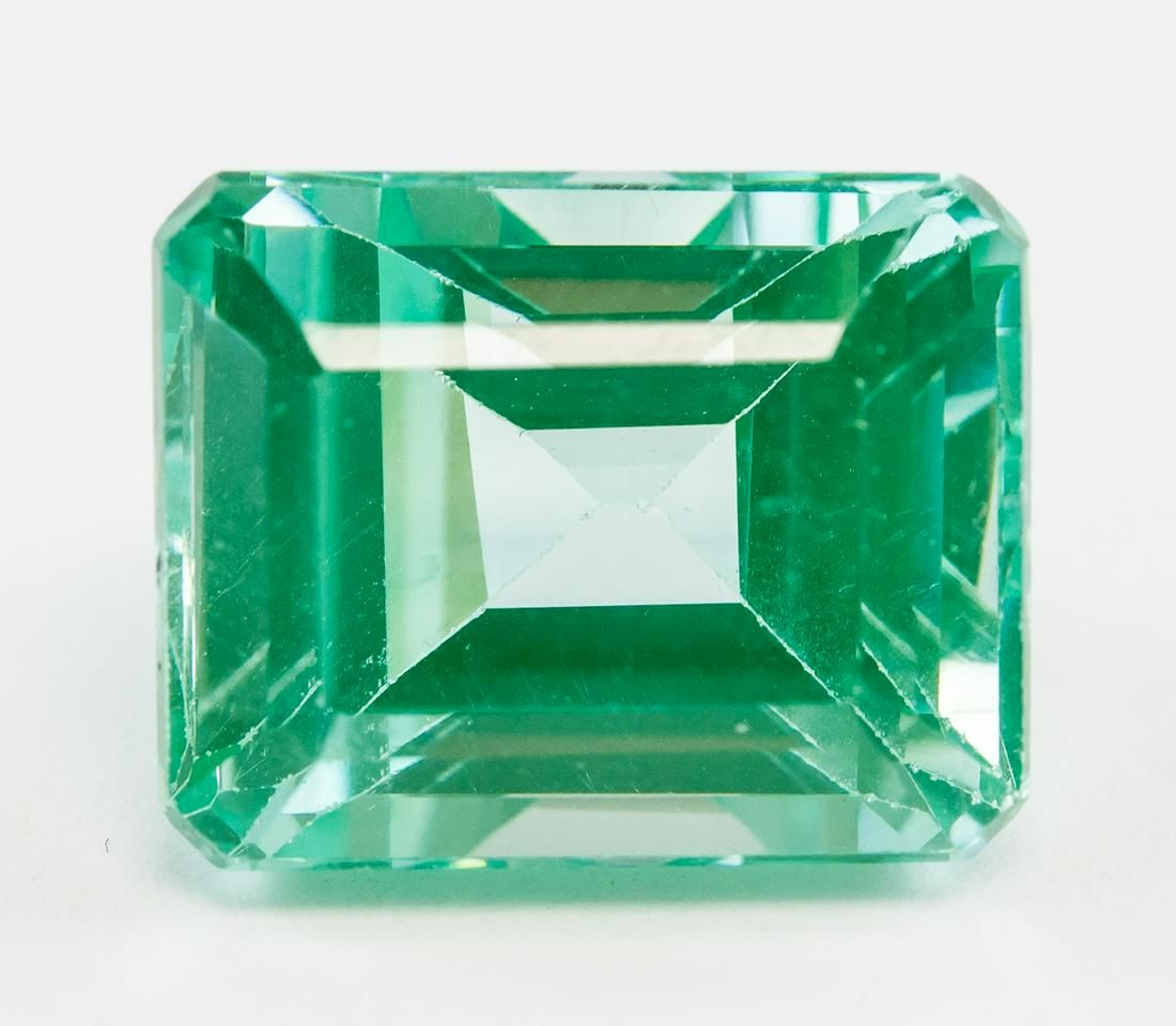 9.80ct Emerald Cut Green Natural Sapphire GGL