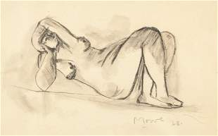Henry Moore Charcoal on Paper Nude Marlborough '28