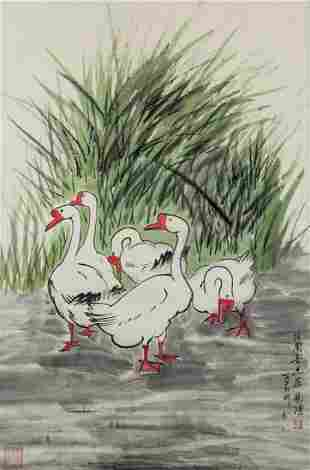 Xu Beihong 1895-1953 Chinese Watercolor Geese