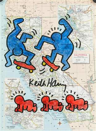 Keith Haring American Ink and Watercolor on Paper