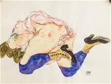 Egon Schiele Austrian Modernist Watercolor Paper