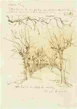 Vincent Van Gogh Dutch Ink on Paper Sketch
