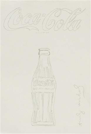 """Andy Warhol American """"Coca Cola"""" Drawing on Paper"""