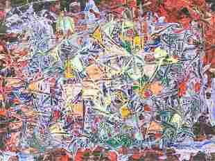 Lee Krasner American Abstract Mixed Media on Board