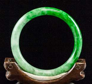 Chinese Green Jadeite Bangle with GIA Certificate