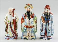 3 Chinese Fu Lu Shou Sanxing Porcelain Figures