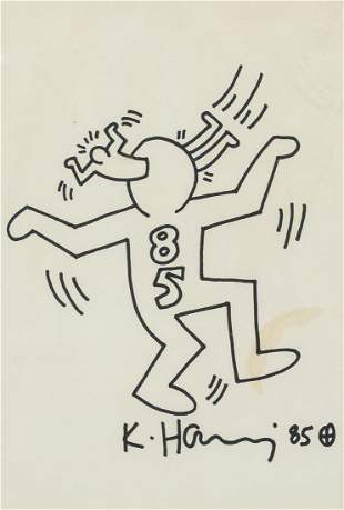 """Keith Haring American Pop Mixed Media on Paper """"85"""