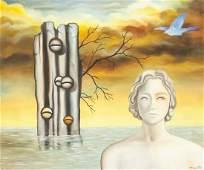 Rene Magritte Belgian Surrealist Oil on Canvas