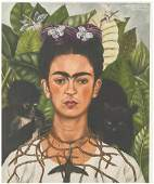 Frida Kahlo Mexican Signed Litho on Paper