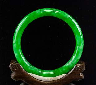 Chinese Green Jadeite Carved Bangle