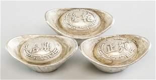 Lot of Three Chinese Silvered Ingots