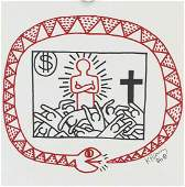 Keith Haring Oroboros Mixed Media on Paper