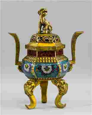 Chinese Bronze Cloisonne Lion Censer Xuande Mark