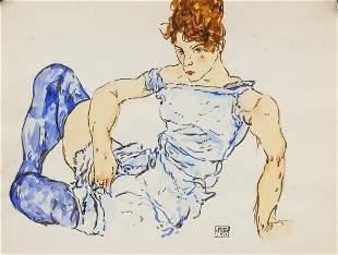 Egon Schiele Austrian Watercolor on Paper