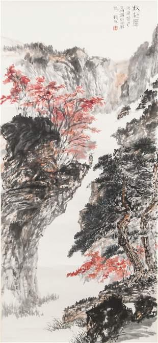 Shi Zhenyu Chinese Watercolor on Scroll