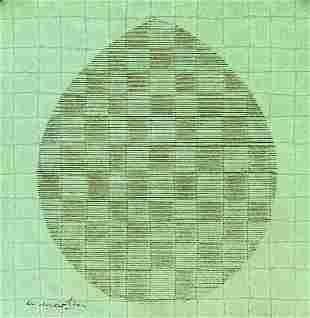 """Agnes Martin American Modernist Ink on Paper """"RAF"""""""