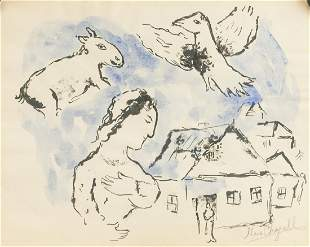 Marc Chagall French Mixed Media on Paper