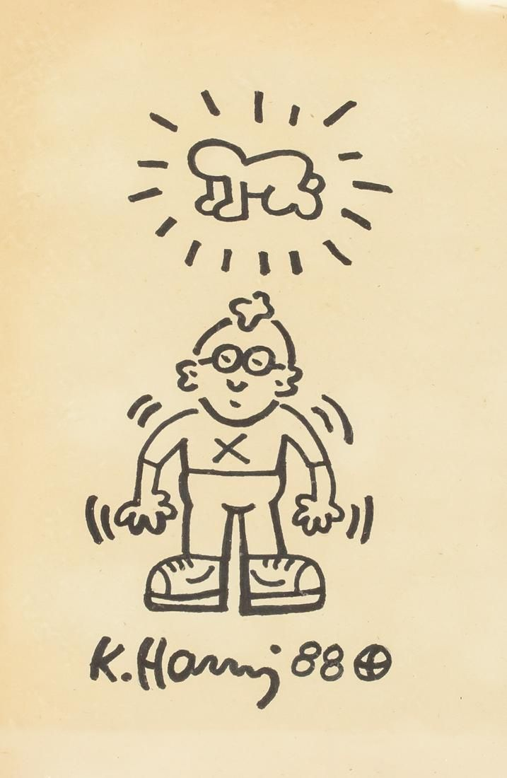 Keith Haring American Mixed Media on Paper