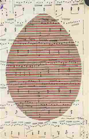 Agnes Martin American Modernist Ink on Sheet Music