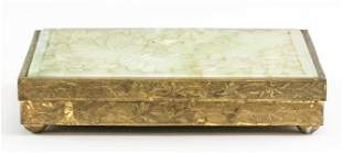 Chinese Brass Jewelry Box with Jade Lid