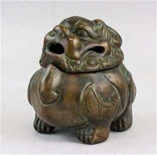 Chinese Bronze Lion Censer with Mark